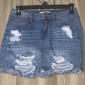 Distressed Mini Denim Skirt